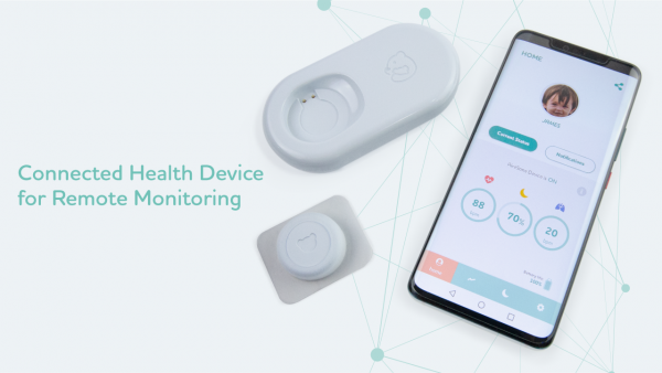 The AireSone Device measures the user's respiratory rate, heart rate, and sleep remotely and in real time